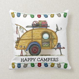 Cute RV Vintage Teardrop  Camper Travel Trailer Throw Pillow
