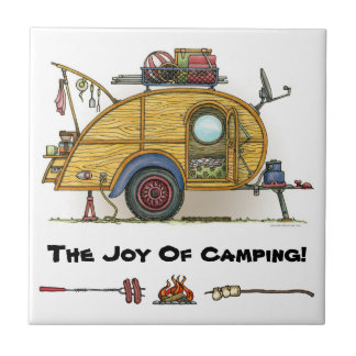 Cute RV Vintage Teardrop  Camper Travel Trailer Tile