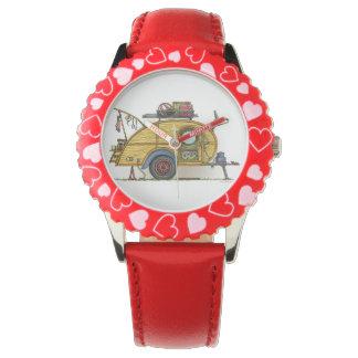 Cute RV Vintage Teardrop  Camper Travel Trailer Wristwatch