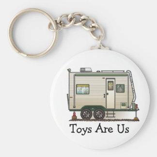 Cute RV Vintage Toy Hauler Camper Travel Trailer Basic Round Button Keychain