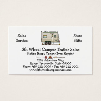 Cute RV Vintage Toy Hauler Camper Travel Trailer Business Card