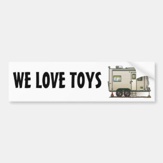 Cute RV Vintage Toy Hauler Camper Travel Trailer Car Bumper Sticker