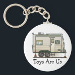 "Cute RV Vintage Toy Hauler Camper Travel Trailer Keychain<br><div class=""desc"">Memories of camping last a lifetime! And so do those memories of your toy hauler camper. These whimsical toy hauler camper key chains are as cute as they can be:) This toy hauler vintage camping trailer was designed by artist Richard Neuman. His uniquely styled vintage trailers artwork is collected worldwide....</div>"