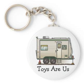 Cute RV Vintage Toy Hauler Camper Travel Trailer Keychain