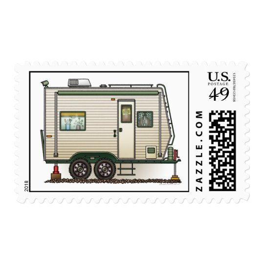 Cute RV Vintage Toy Hauler Camper Travel Trailer Postage