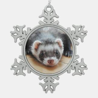 Cute Sable Ferret Snowflake Pewter Christmas Ornament