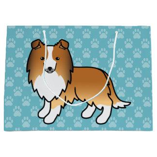 Cute Sable Shetland Sheepdog Dog Design Large Gift Bag