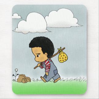 Cute sad boy mouse pad