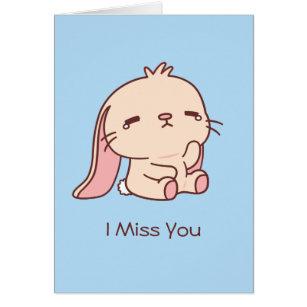Cute Sad Bunny I Miss You Greeting Card