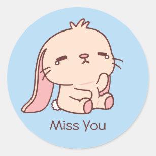 Cute Sad Bunny Miss You Classic Round Sticker