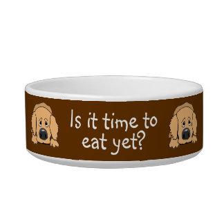 Cute Sad Dog Time to Eat Yet Custom Pet Bowl