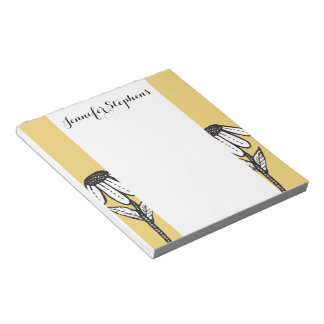 Cute Sad Drooping Hand Drawn Flowers Notepad