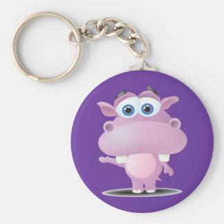 cute sad little hippo basic round button keychain