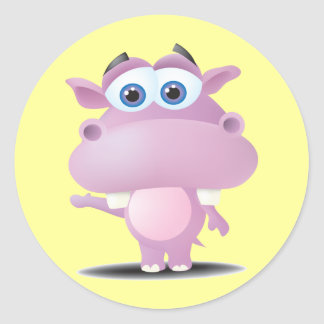 cute sad little hippo classic round sticker