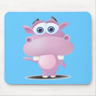 cute sad little hippo mouse pad