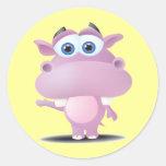 cute sad little hippo round stickers