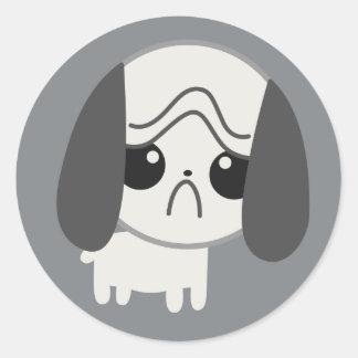 Cute Sad Pug Puppy Classic Round Sticker