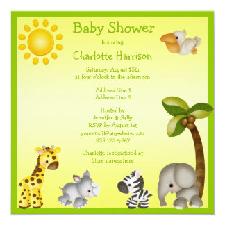Cute Safari Animals Baby Shower Card