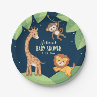Cute Safari Animals Baby Shower Custom Plates