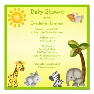 Cute Safari Animals Baby Shower Personalized Invitation