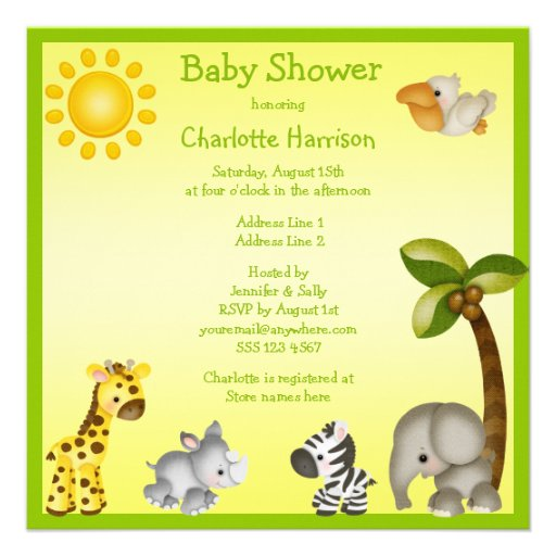 cute safari animals baby shower square invitation card zazzle