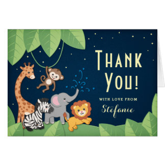 Cute Safari Animals Baby Shower Thank You Card