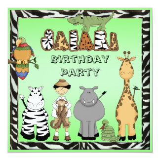 Cute Safari Animals Birthday Party Card