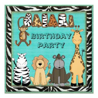 Cute Safari Animals Birthday Party Invitations