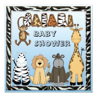 Cute Safari Animals Blue Baby Boy Shower Card