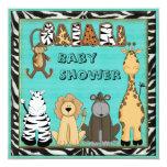 "Cute Safari Animals Blue Baby Boy Shower 5.25"" Square Invitation Card"