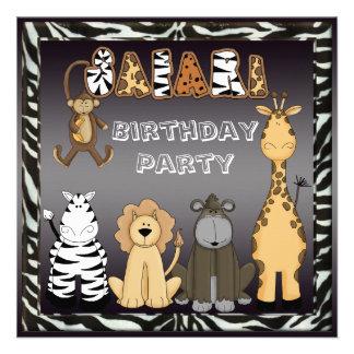 Cute Safari Animals Chic Birthday Party Invitations