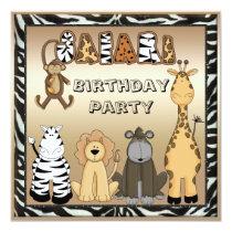 Cute Safari Animals Chic Birthday Party Invitation