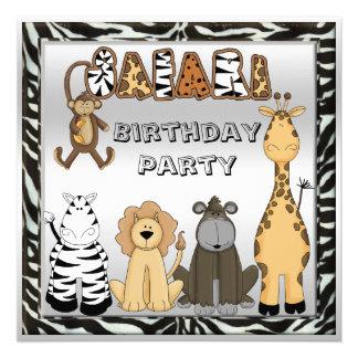 Cute Safari Animals Chic Birthday Party Custom Invites