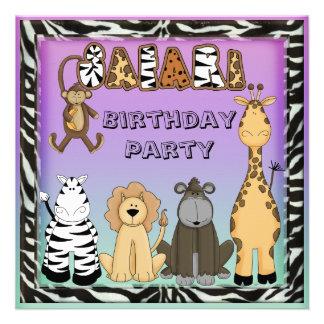 Cute Safari Animals Chic Birthday Party Personalized Announcement
