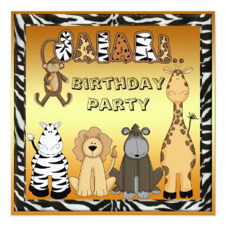 Cute Safari Animals Chic Gold Birthday Party Card