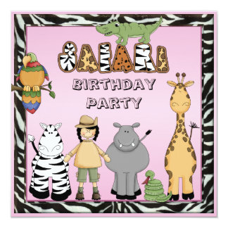 Cute Safari Animals Chic Pink Birthday Party Card