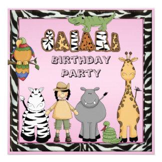 Cute Safari Animals Chic Pink Birthday Party Personalized Invite
