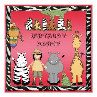 Cute Safari Animals Chic Pink Birthday Party Announcement