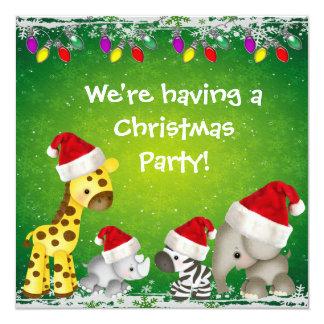 Cute Safari Animals Christmas Party Invites