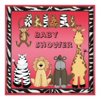 Cute Safari Animals Hot Pink Baby Girl Shower Card