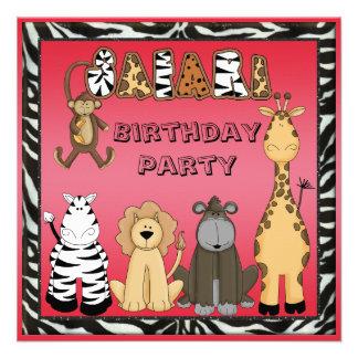 Cute Safari Animals Hot Pink Birthday Party Invitation