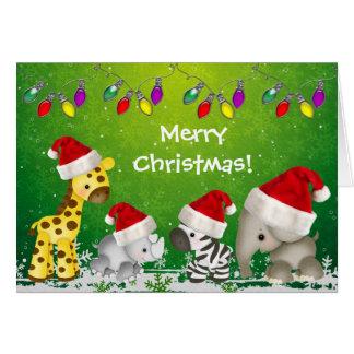 Cute Safari Animals in Santa Hats Christmas Card