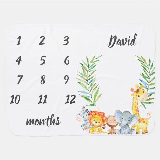 Cute Safari Animals Jungle Baby Boy Milestone Baby Blanket
