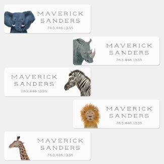 Cute Safari Animals Kids' Labels