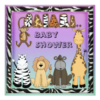 Cute Safari Animals Neutral Baby Shower Card