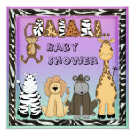 Cute Safari Animals Neutral Baby Shower 5.25x5.25 Square Paper Invitation Card