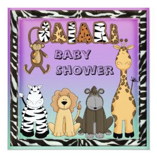 """Cute Safari Animals Neutral Baby Shower 5.25"""" Square Invitation Card"""