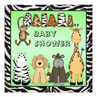 Cute Safari Animals Neutral Baby Shower Personalized Announcement