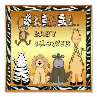 Cute Safari Animals Neutral Gold Baby Shower Card