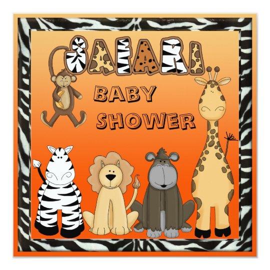 Cute Safari Animals Neutral Orange Baby Shower Card